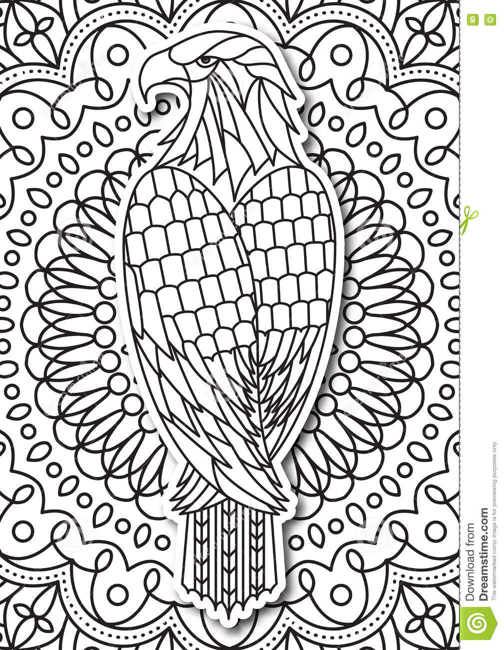 eagle coloring page for adults in ethnic style vector hand