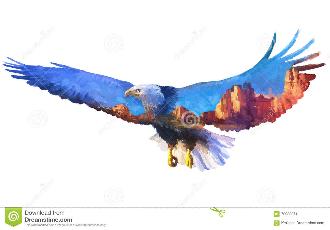 Eagle Double Exposure Illustration Stock Illustration - Illustration ...