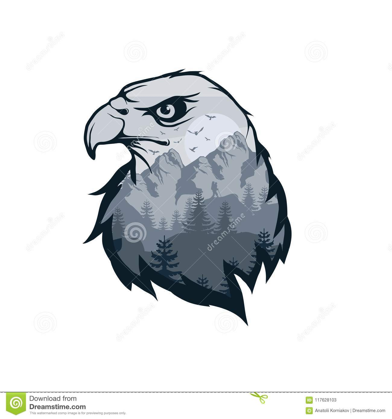 Eagle double exposure. Wildlife for your design, outdoors symbol eagle double exposure.