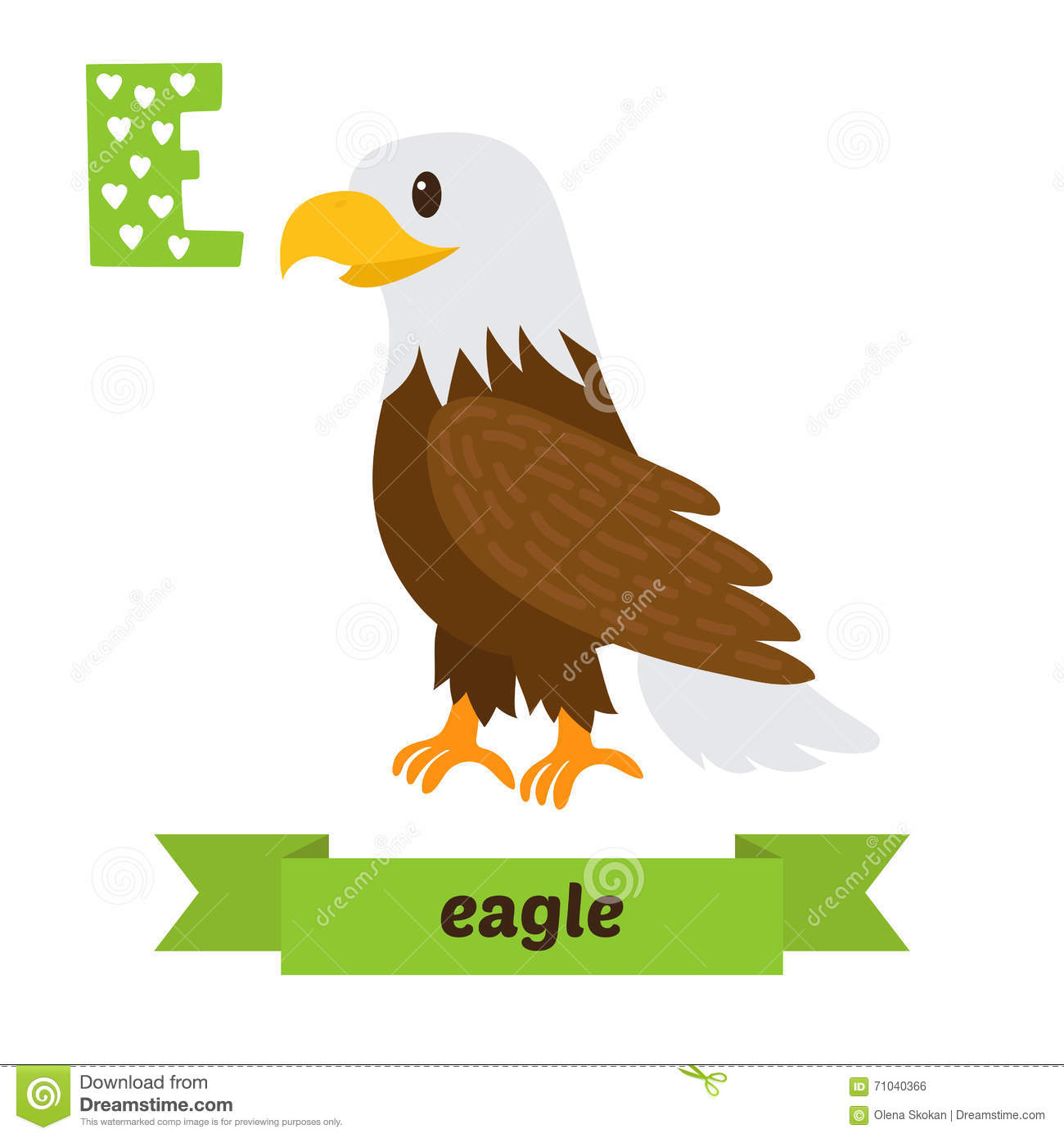 Eagle. E Letter. Cute Children Animal Alphabet In Vector. Funny Stock ...