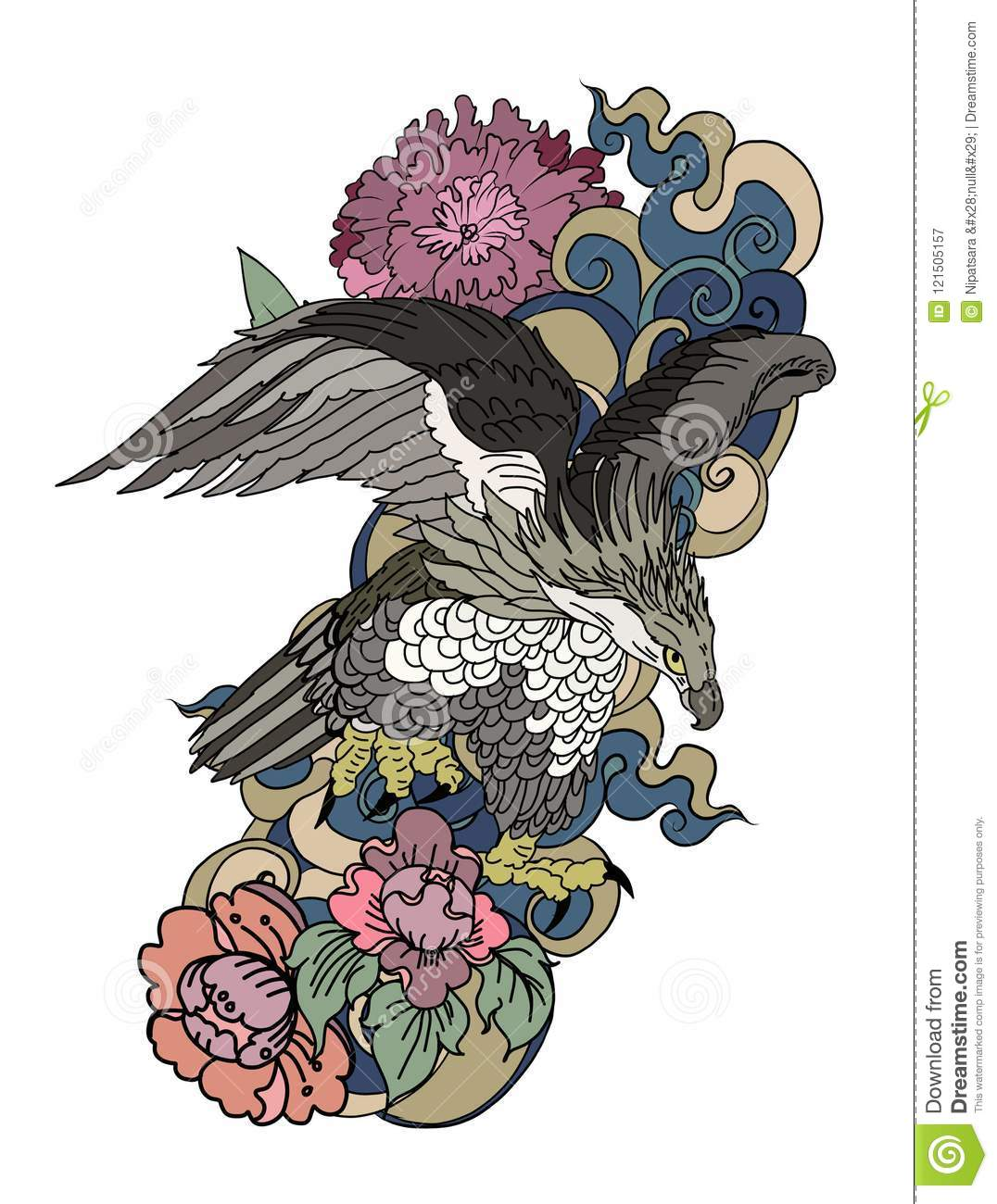 Eagle Flying Tattoo.Traditional Japanese Eagle With Thai Flower On ...