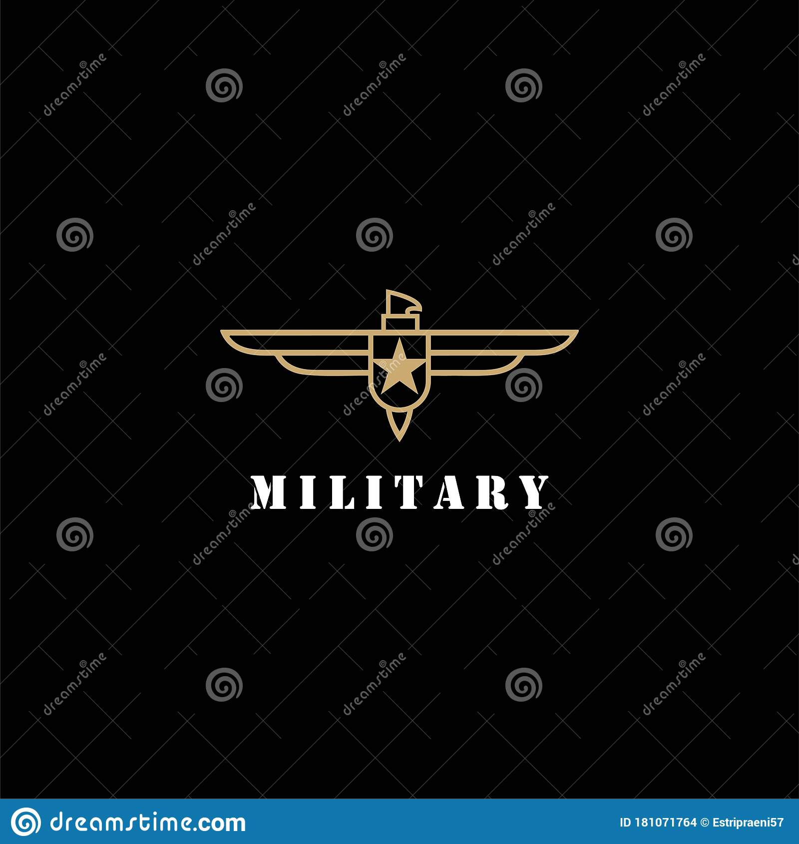Eagle Hawk Falcon Line Style Military Badge Logo Design