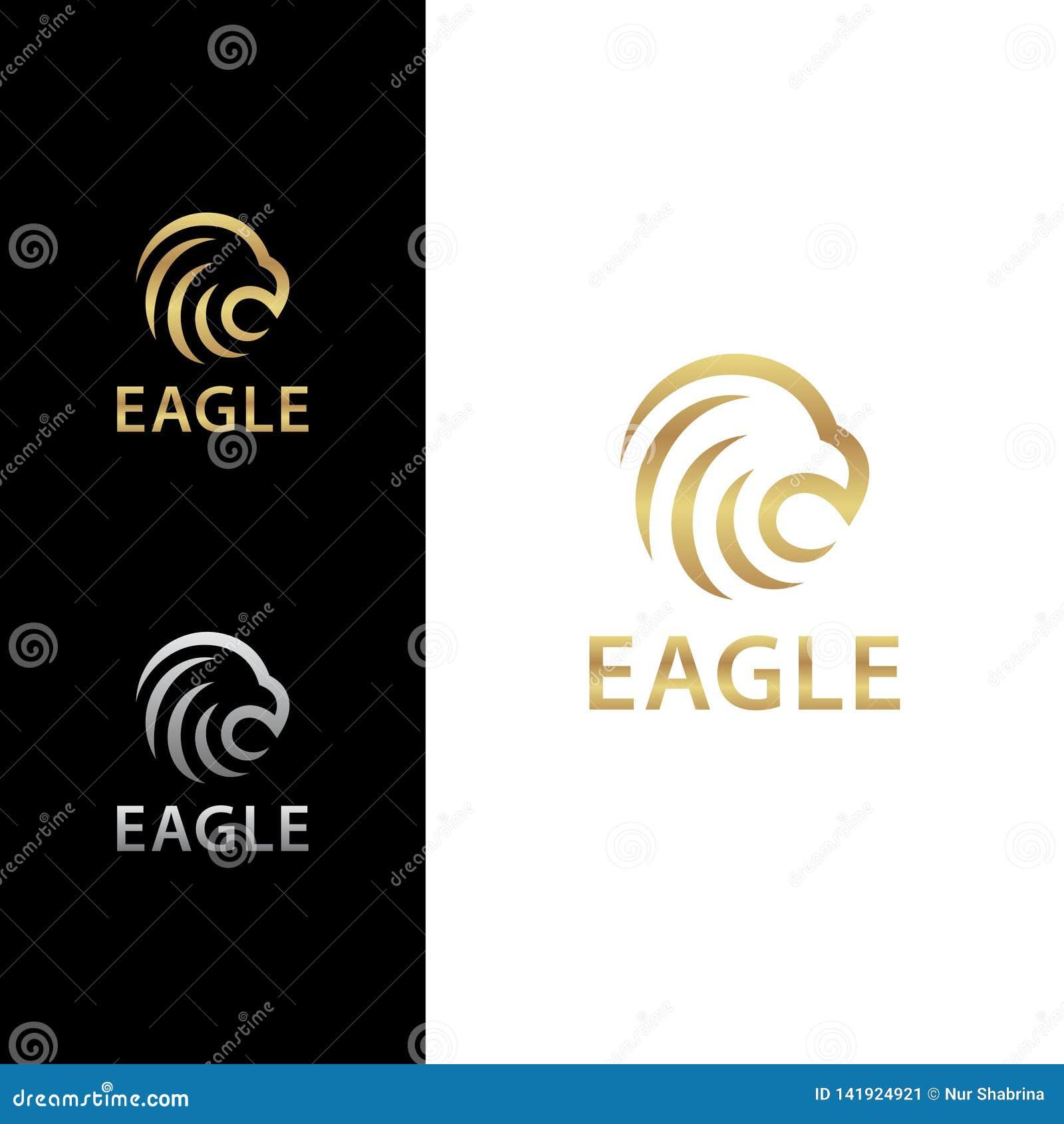 Eagle Head Bold Logo Concept con color de oro