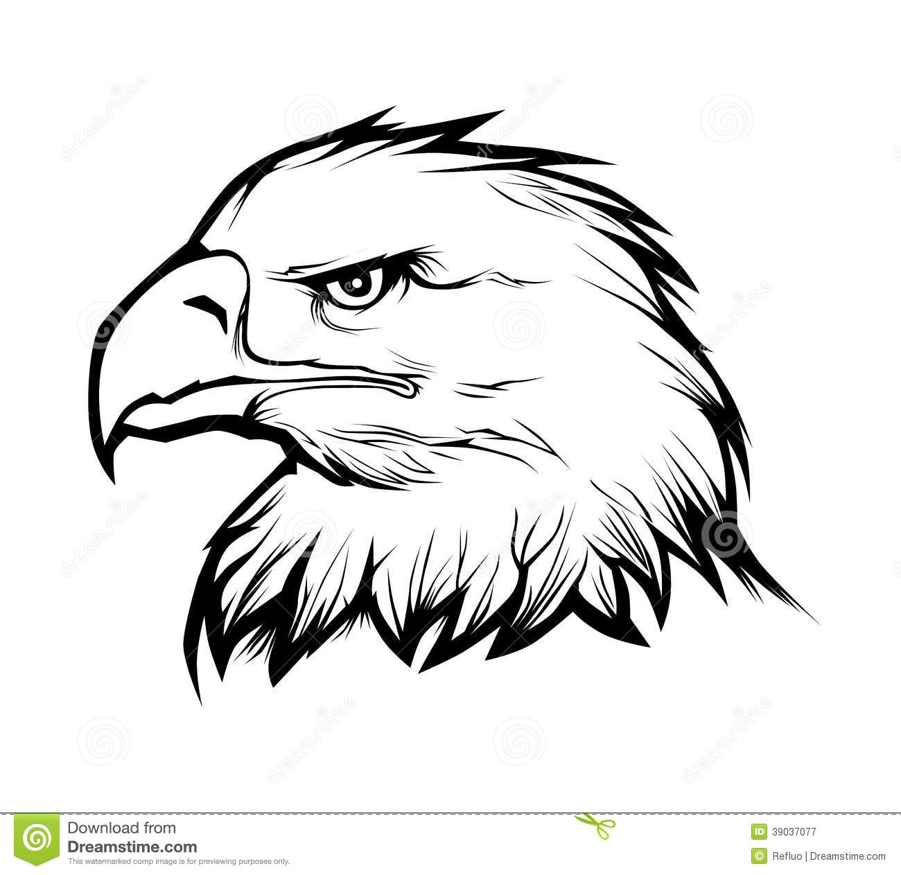Realistic eagle head black and white vector illustration