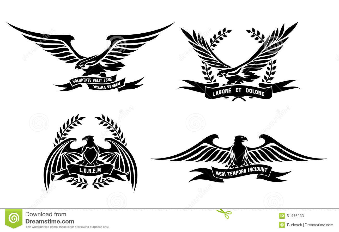 Eagle Heraldic Labels With Laurel Wreaths Shields Stock