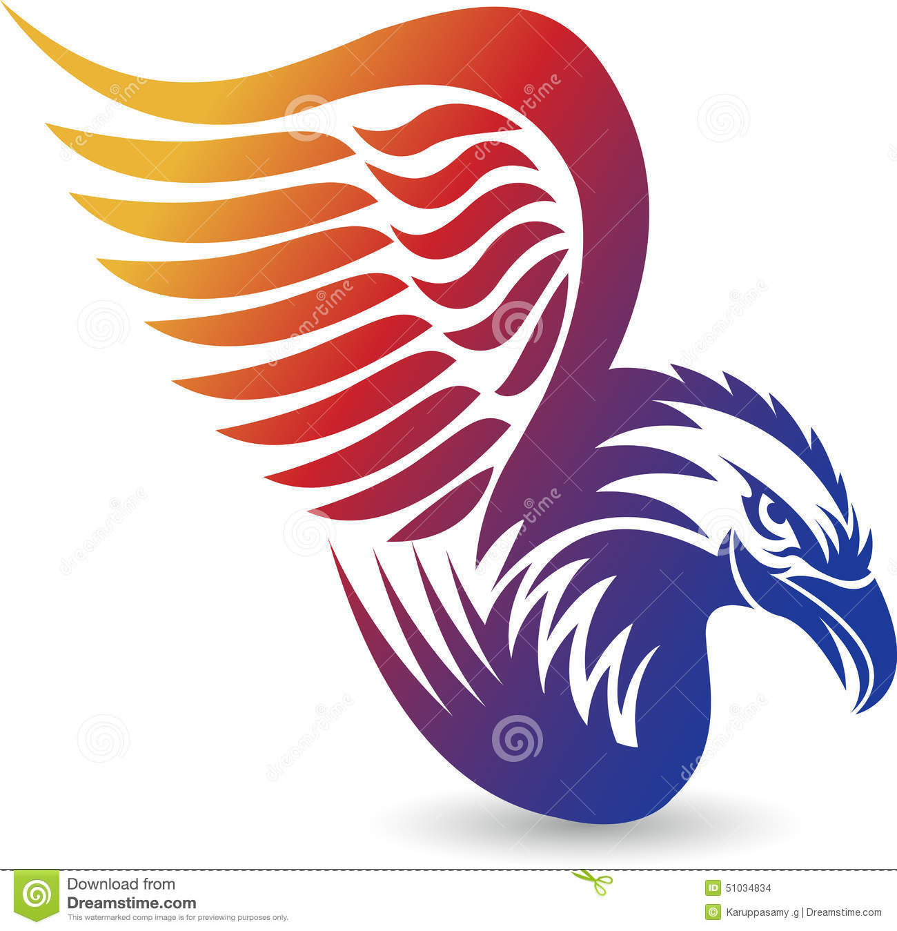 Illustration art of a Eagle logo with background.