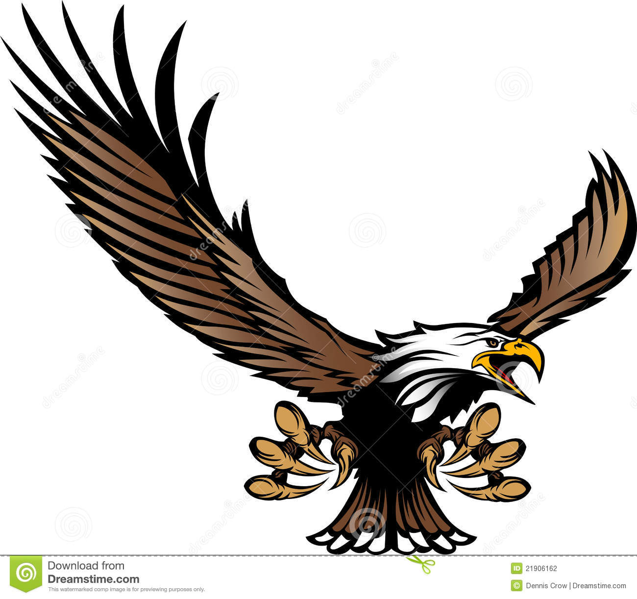 Eagle Mascot Flying With Talons And Wings Stock Photography - Image ...