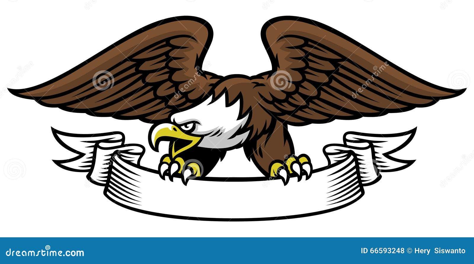 Eagle mascot grip the ribbon