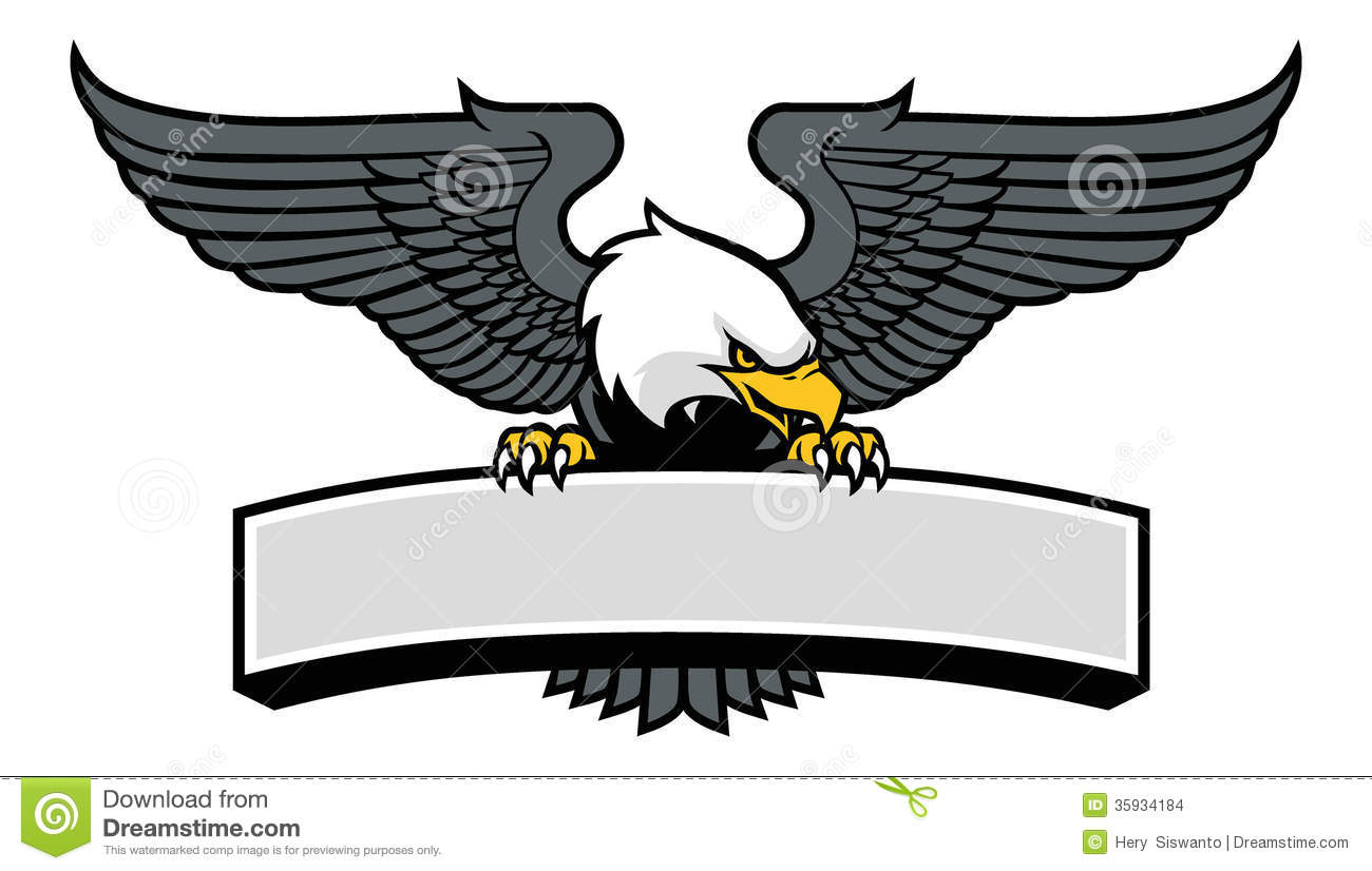 Eagle mascot griping the sign