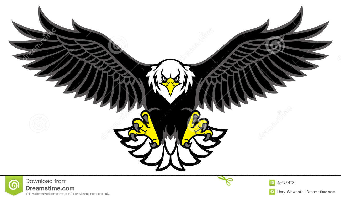 Eagle mascot spread the wings  Eagle Wings Spread Clipart Black And White
