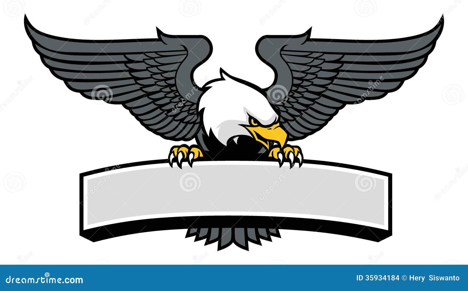 Eagle-mascotte die het teken klagen