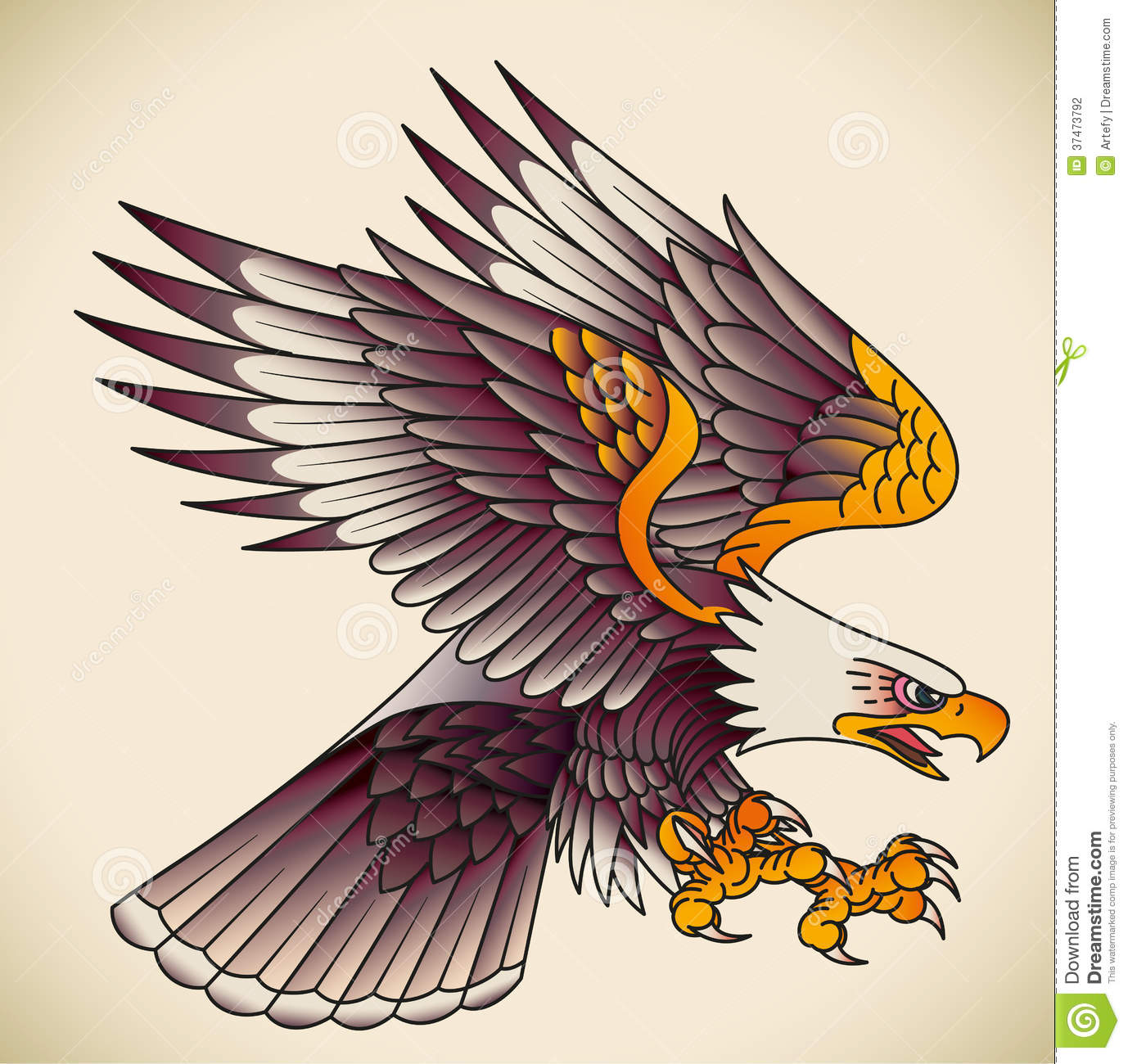 Bald eagle attacking. Old-school tattoo design. Editable vector ...