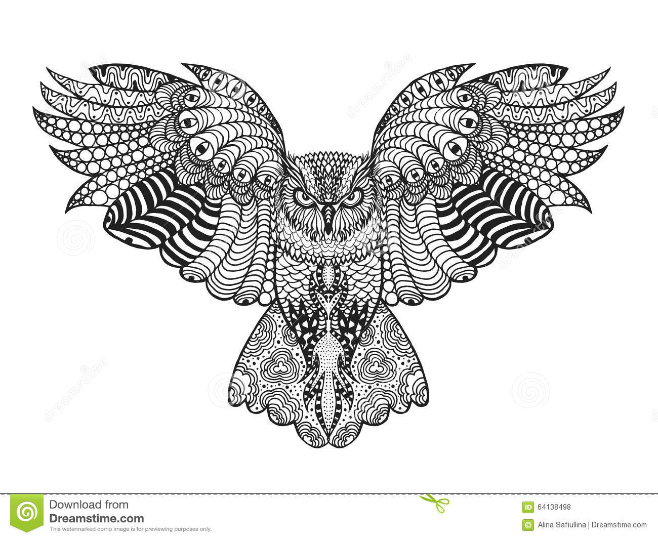 Pagine Da Colorare Per Animali Tribali: Eagle Owl. Adult Antistress Coloring Page Stock Vector