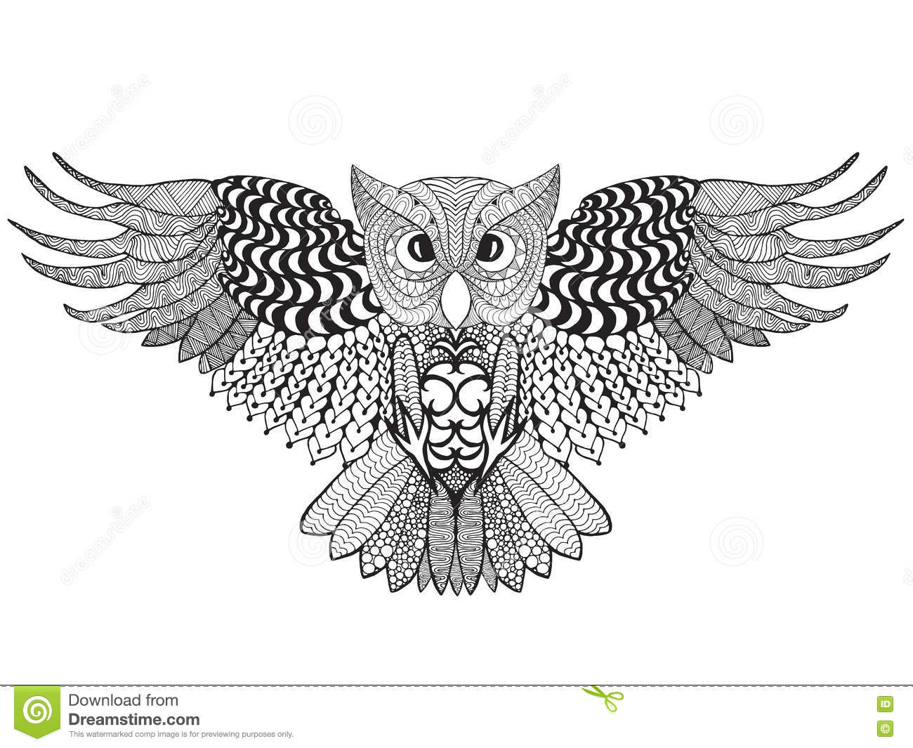 eagle owl adult antistress coloring page black white hand drawn doodle animal ethnic patterned vector african indian totem tribal