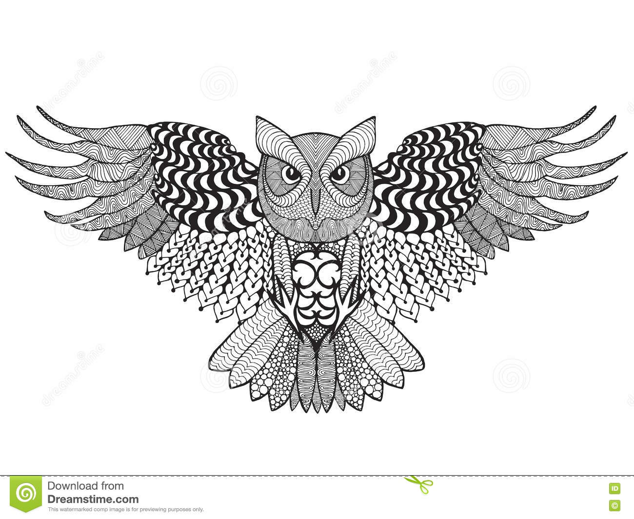 eagle owl adult antistress coloring page black white hand drawn doodle animal ethnic patterned vector sketch tattoo poster