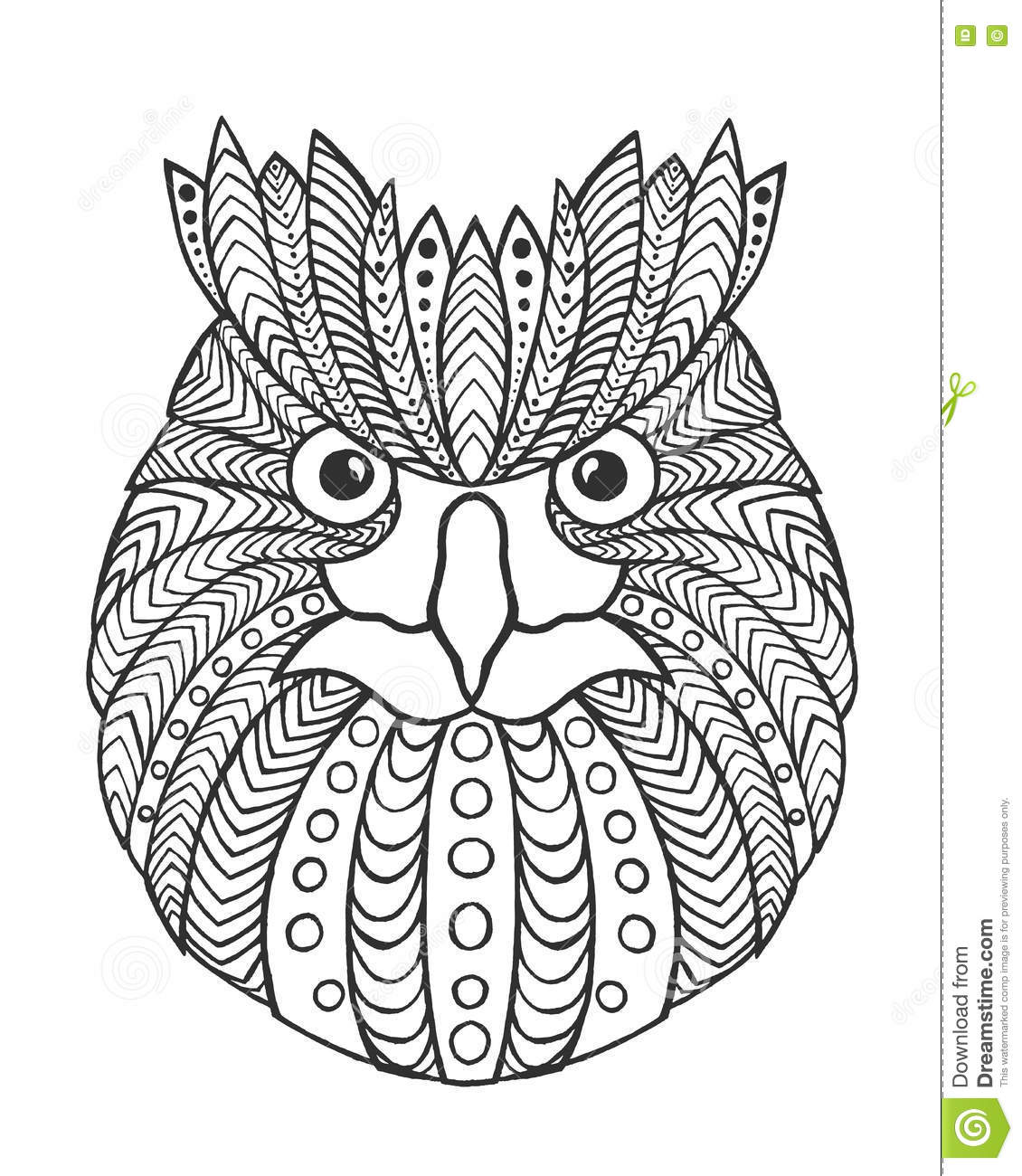 eagle owl head antistress coloring page stock vector