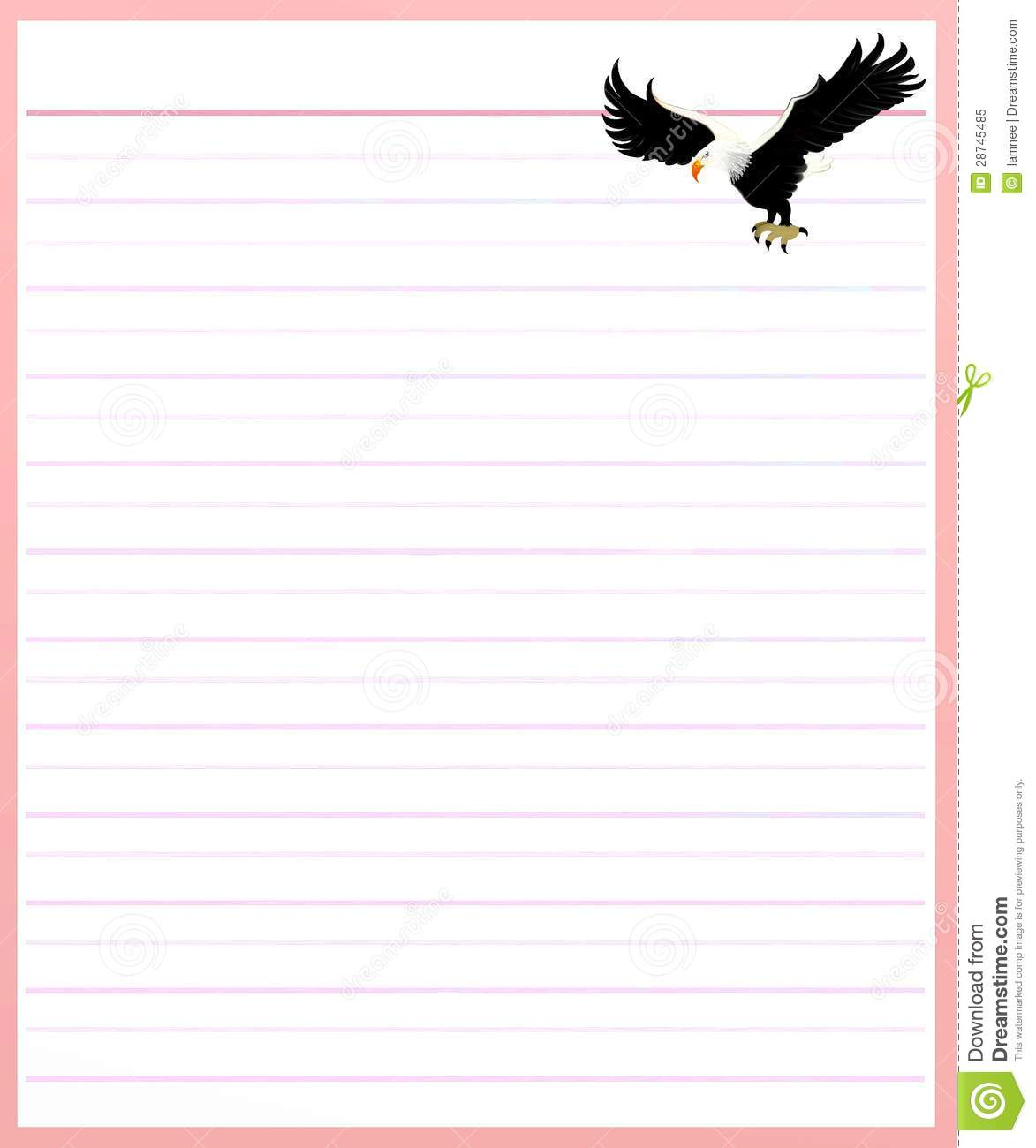 Eagle On Pink Color Lined Paper  Can You Print On Lined Paper