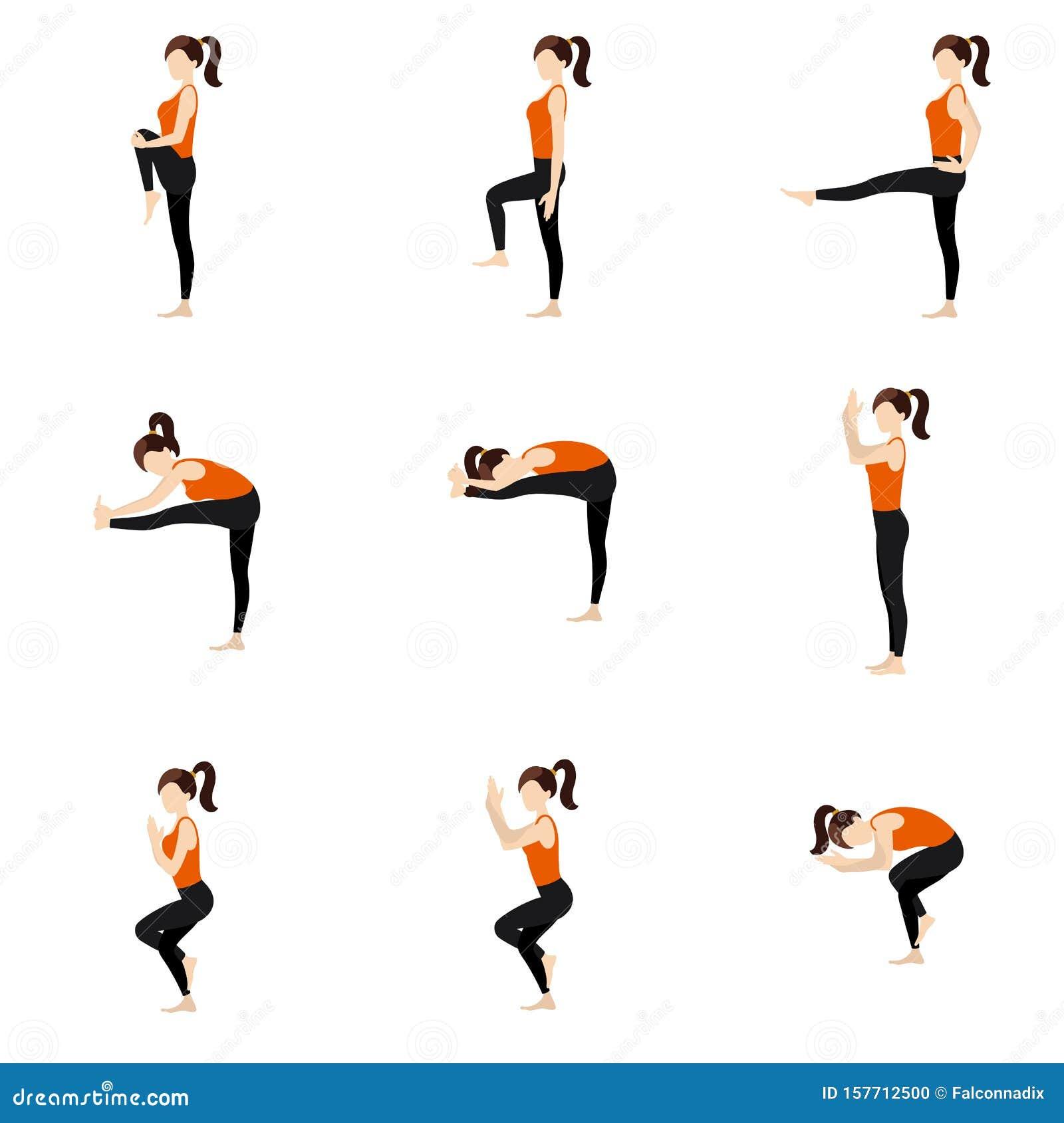 Eagle Sequence and Balancing Yoga Asanas Set Stock Vector ...