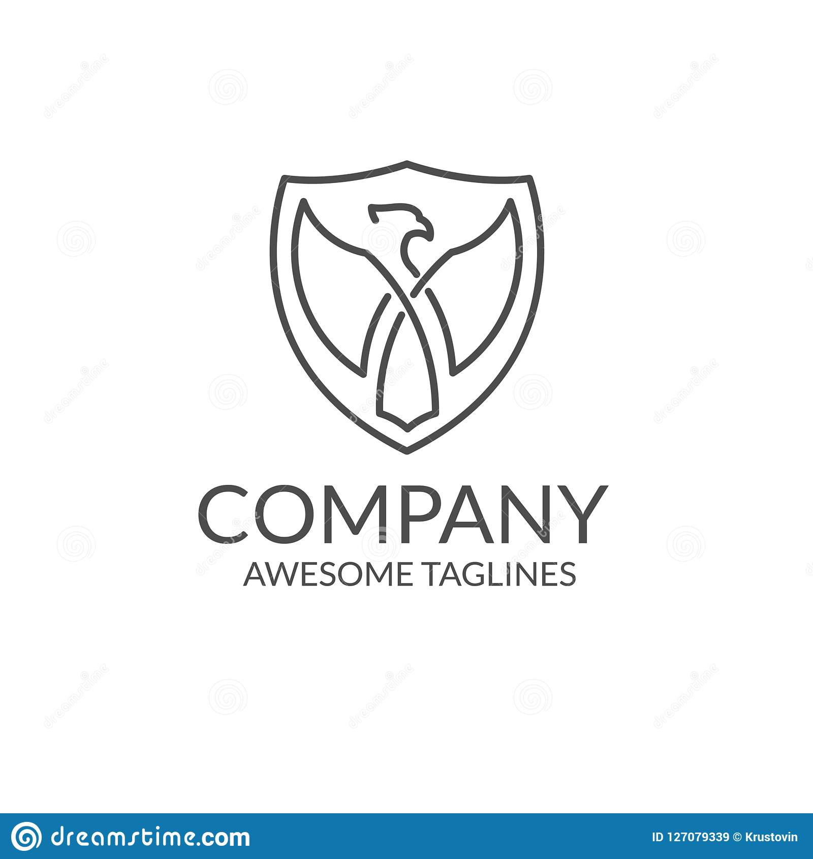 Eagle With A Shield Outline Stock Vector - Illustration of design ...