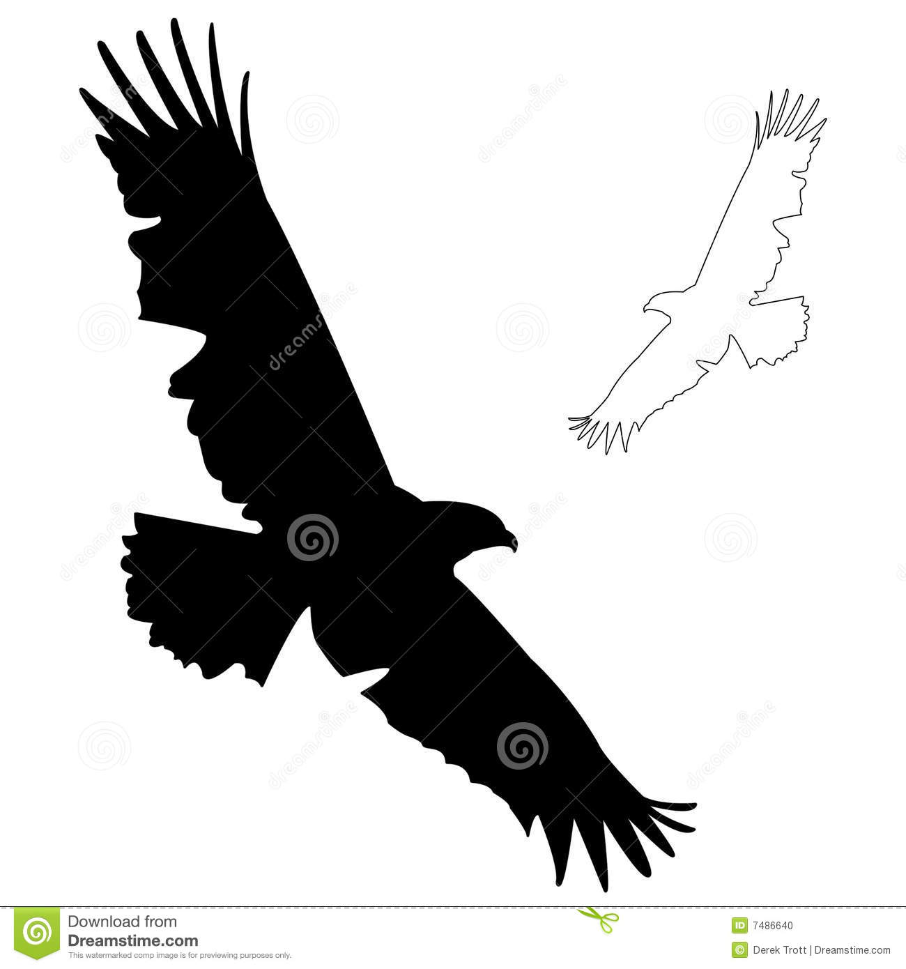 An Eagle silhouette,also with a drawn outline.