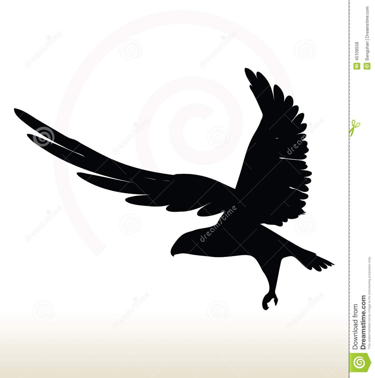 Illustration of eagle silhouette isolated on white background.