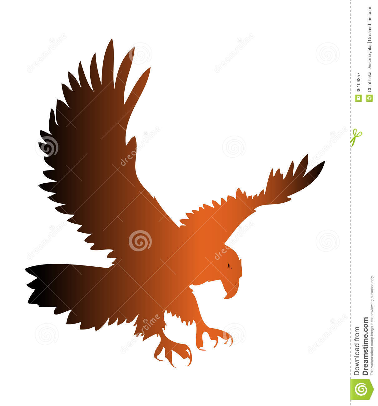 Eagle silhouette isolated on white. Eagle Silhouette Vector