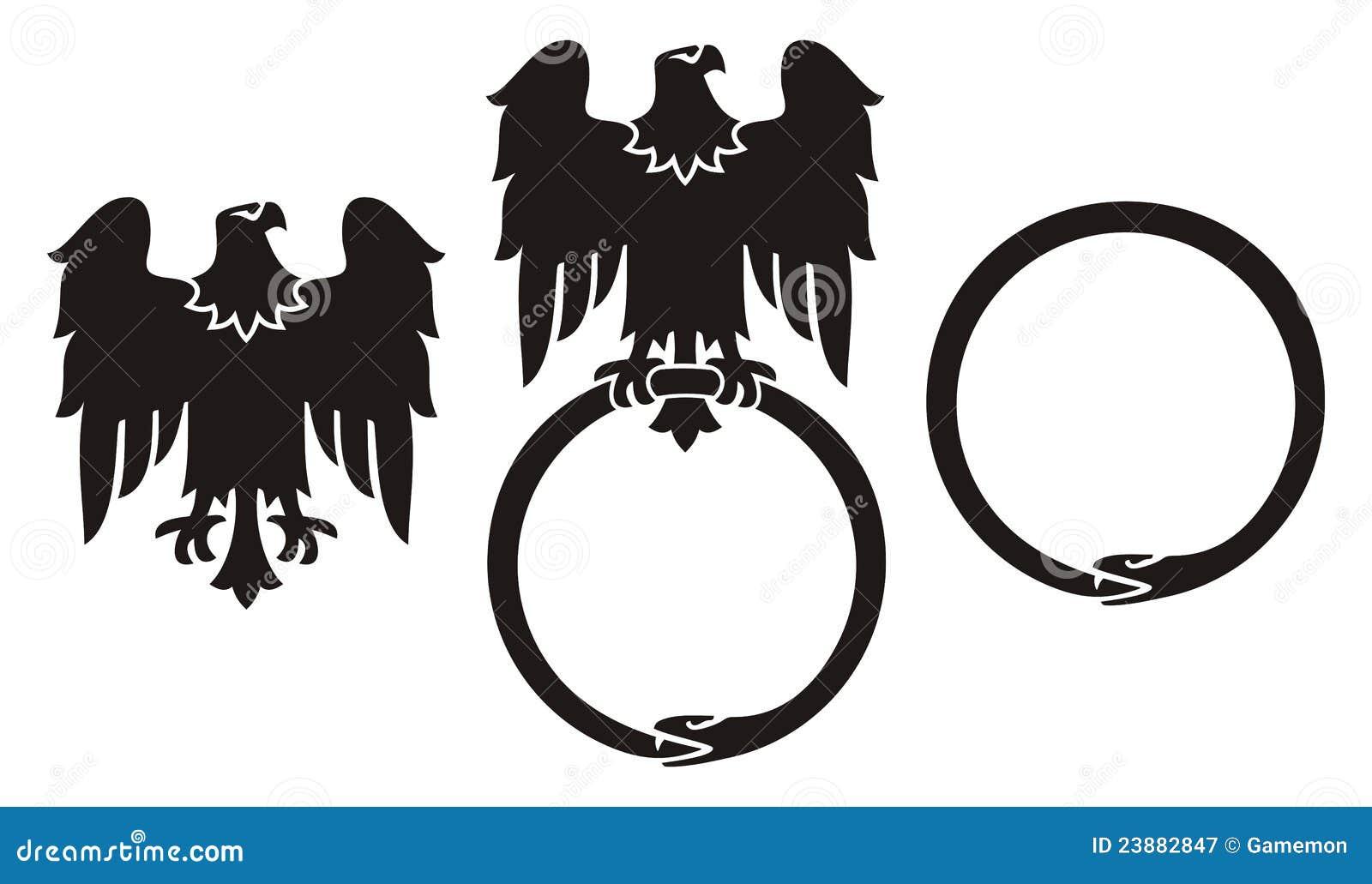 Eagle and snake ourobo...