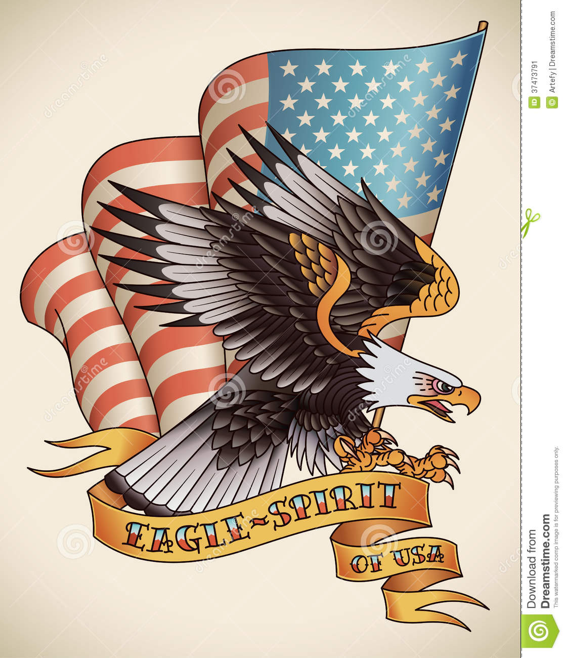 Eagle Spirit Old School Tattoo Stock Vector  Image 37473791