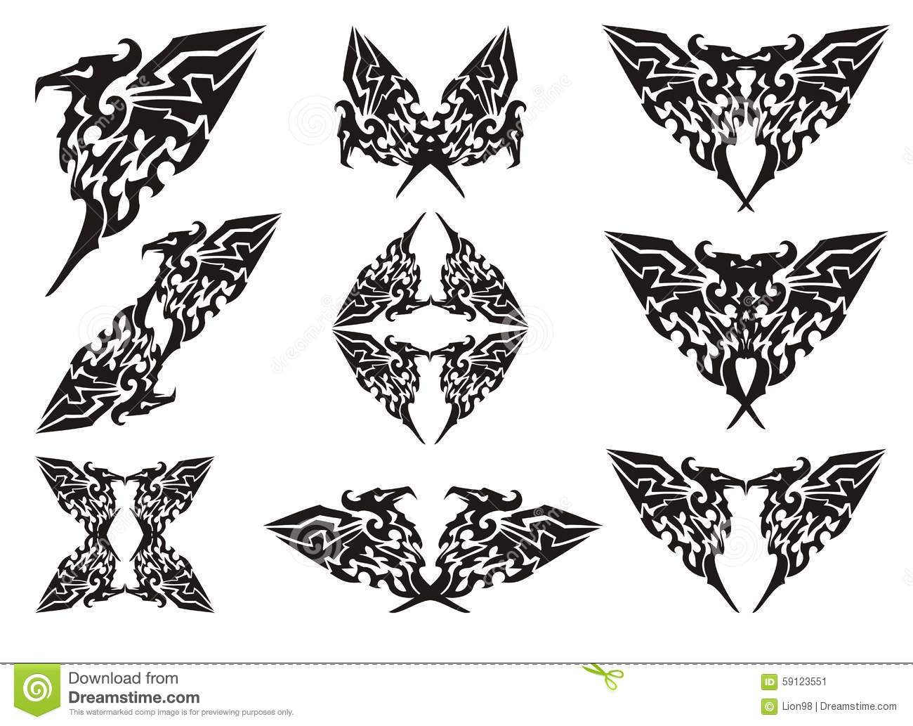 eagle symbols in tribal style black on the white stock vector