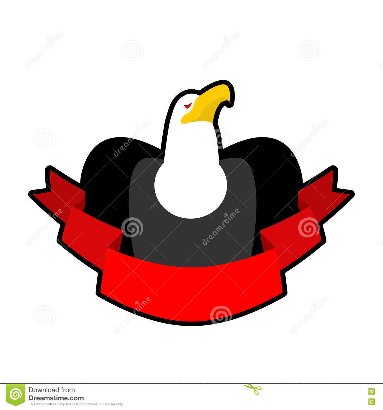 Eagle and tape. Red ribbon and head of bald eagle. Hawk. Logo
