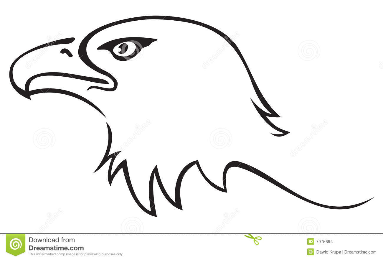 Illustration of eagle head isolated on white background. Eagle Silhouette Vector