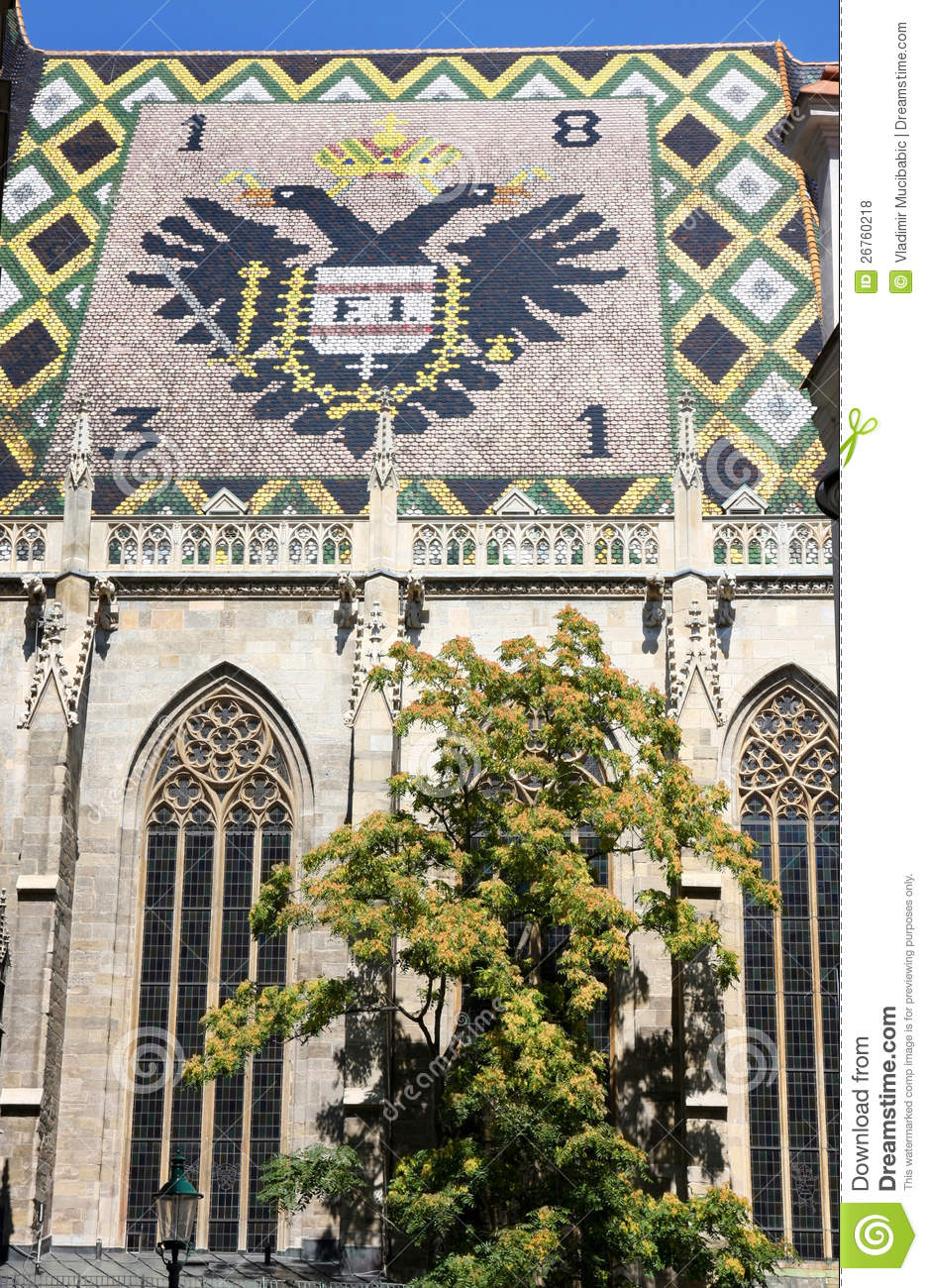 Eagle Tiles Roof Of Stephansdom In Vienna Austria Stock