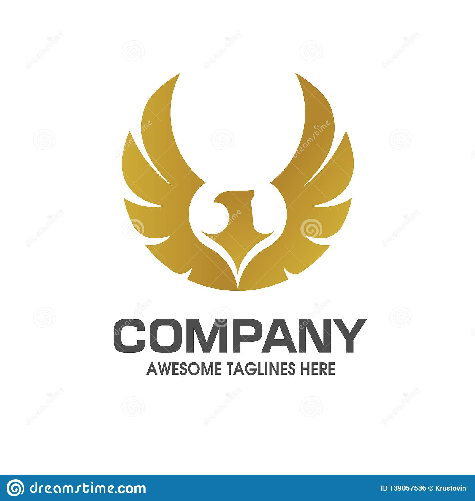 Eagle Wings With Gold Color Logo Stock Vector Illustration Of