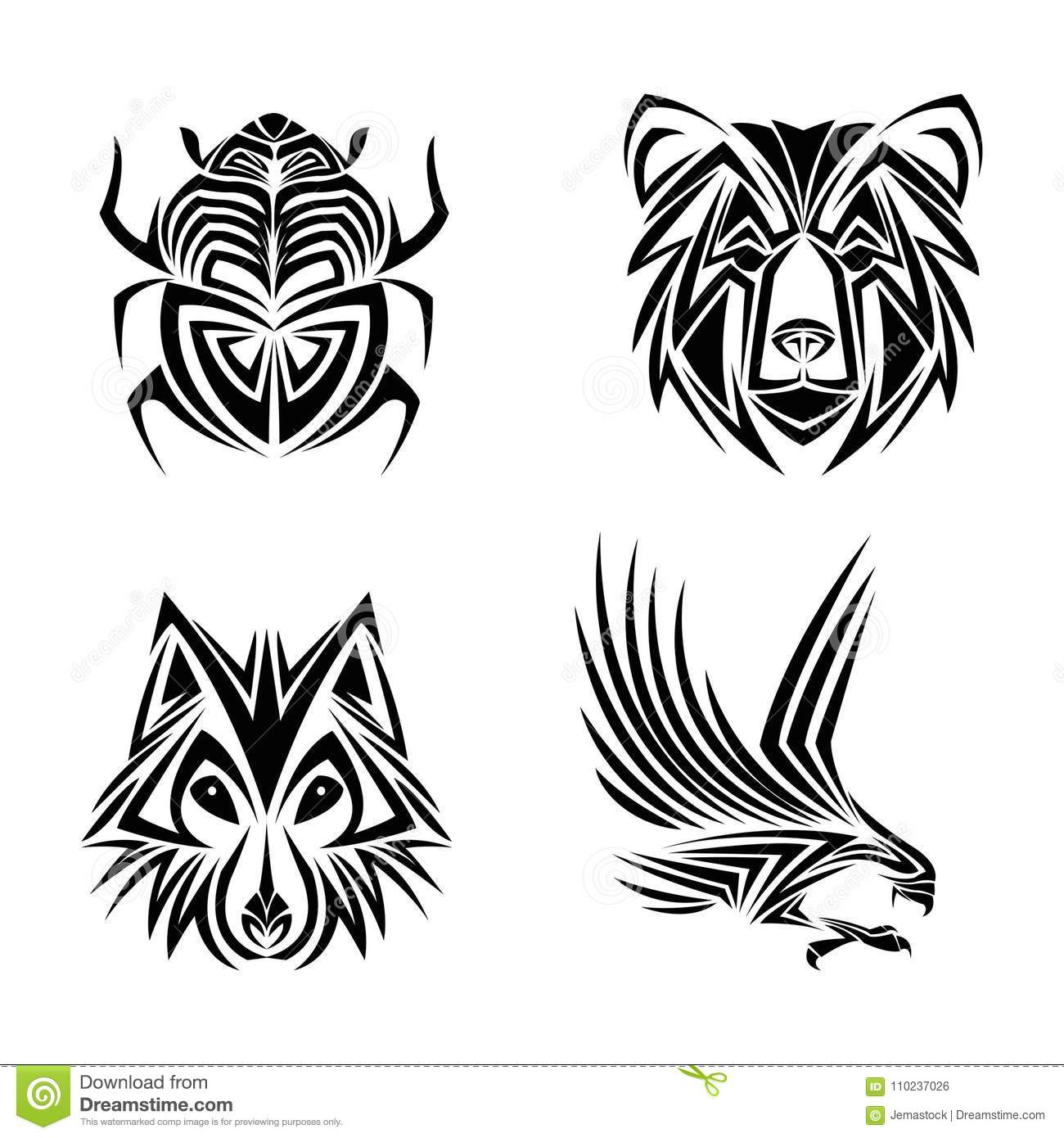21c8af936 Eagle wolf bear bug tattoo animal draw abstract icon. flat and isolated  design. Vector illustration