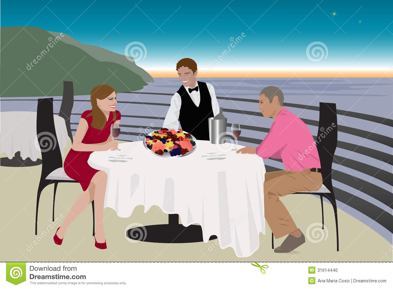 Eaiter serving young couple stock photo image 31614440 for Dinner on the terrace