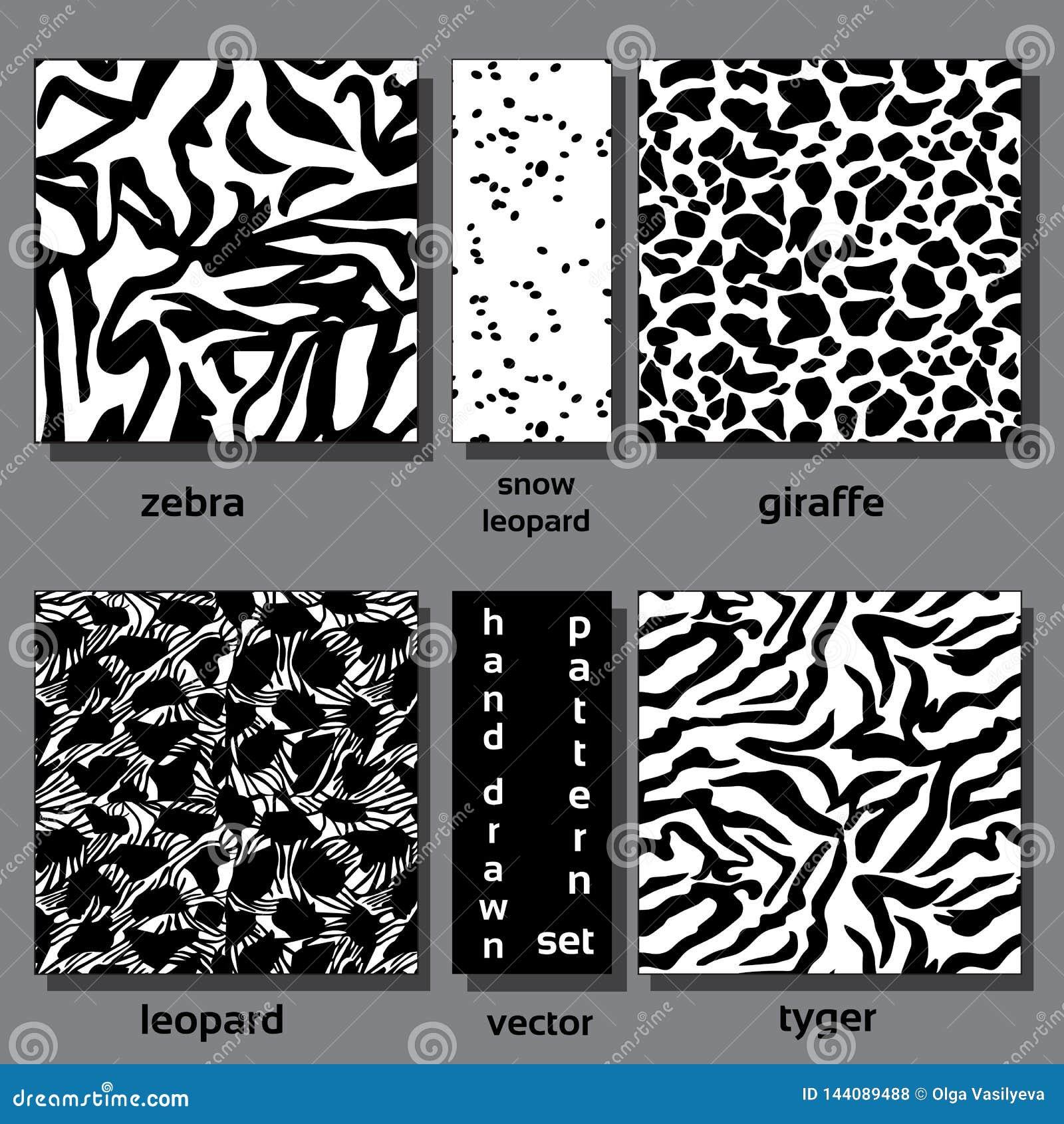 Eamless-Mustersatz wilde afrikanische Tiere für Entwurf und Dekoration