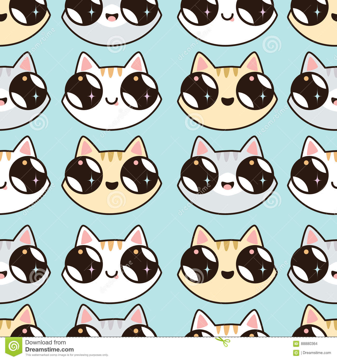 eamless pattern with kawaii kittens seamless pattern of cute