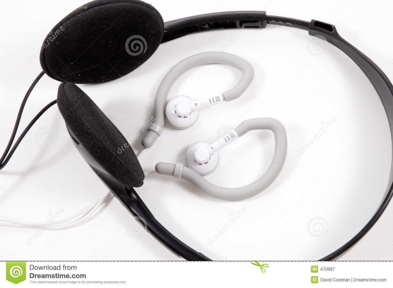 Download Ear Buds with Headphones stock image. Image of plastic - 470997