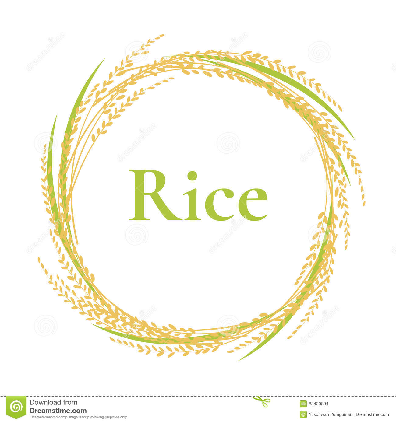 Ear Of Rice Logo Design, Circle Frame Vector, Plant Stock