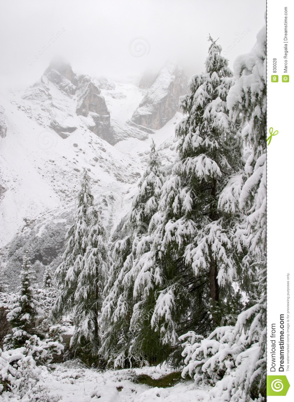 Early autumn snow in Dolomite Mountains