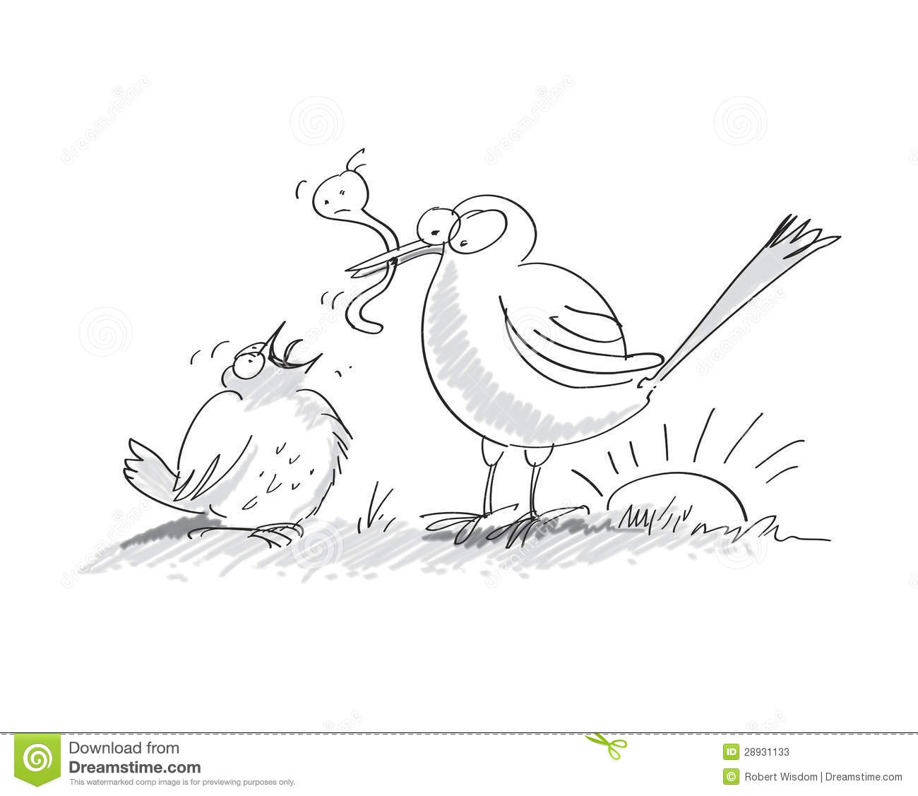 Early Bird Catches The Worm Stock Illustration