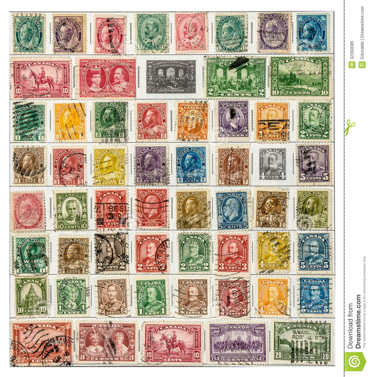 Page from a stamp collection of early Canadian postage stamps.
