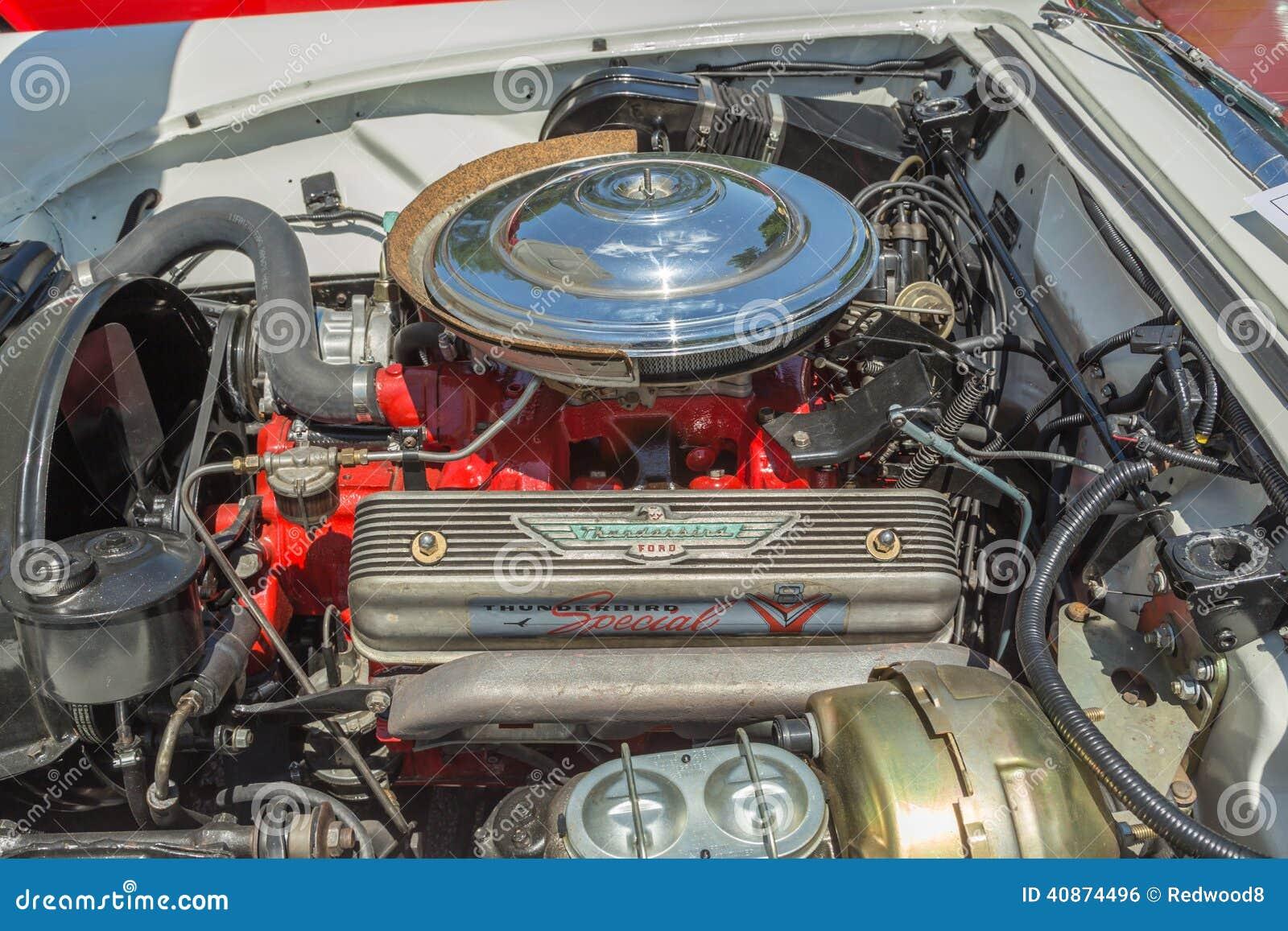 Early ford thunderbird v 8 motor editorial photo image for Ford motor company stock