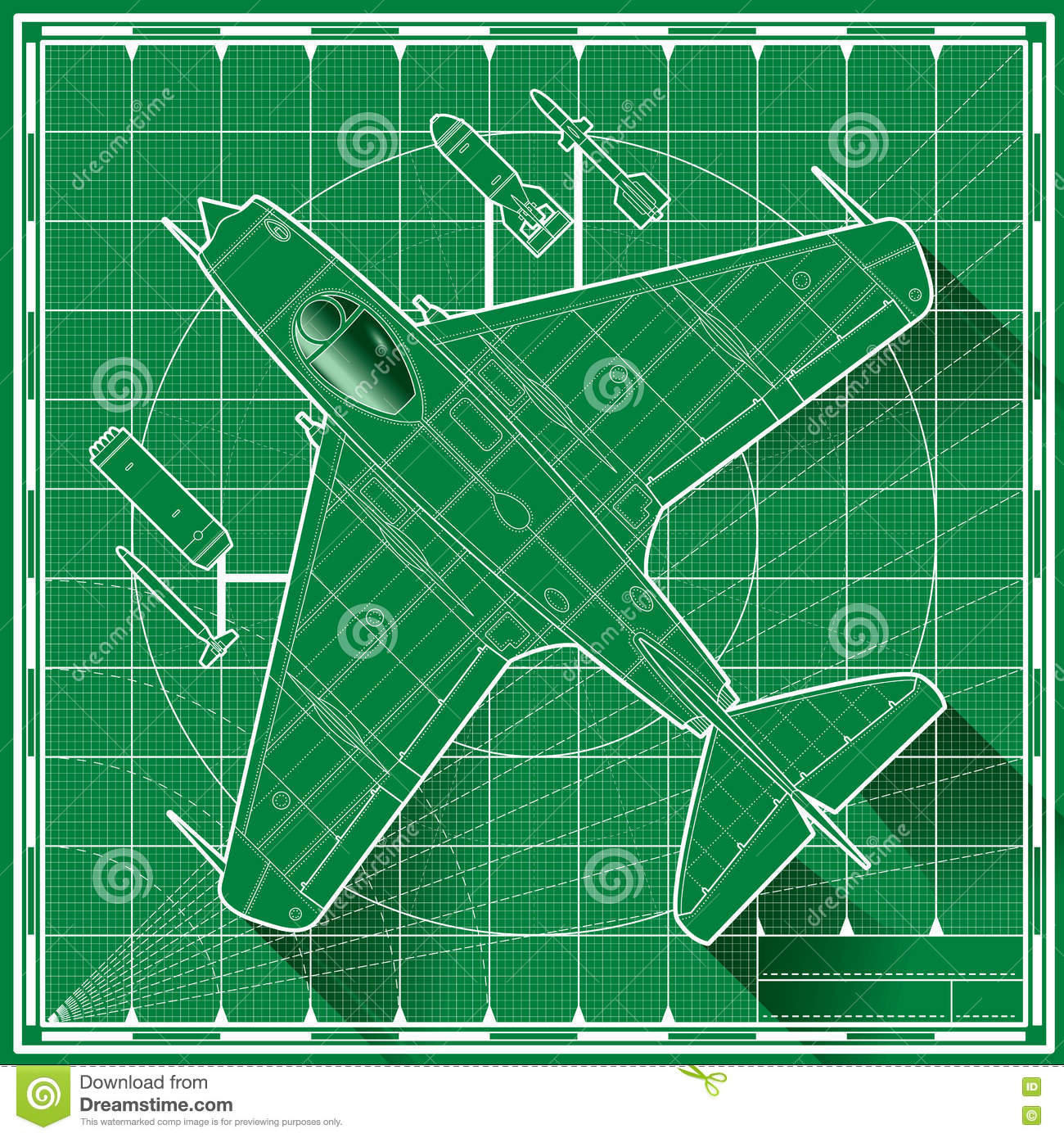 Early jet fighter blueprint