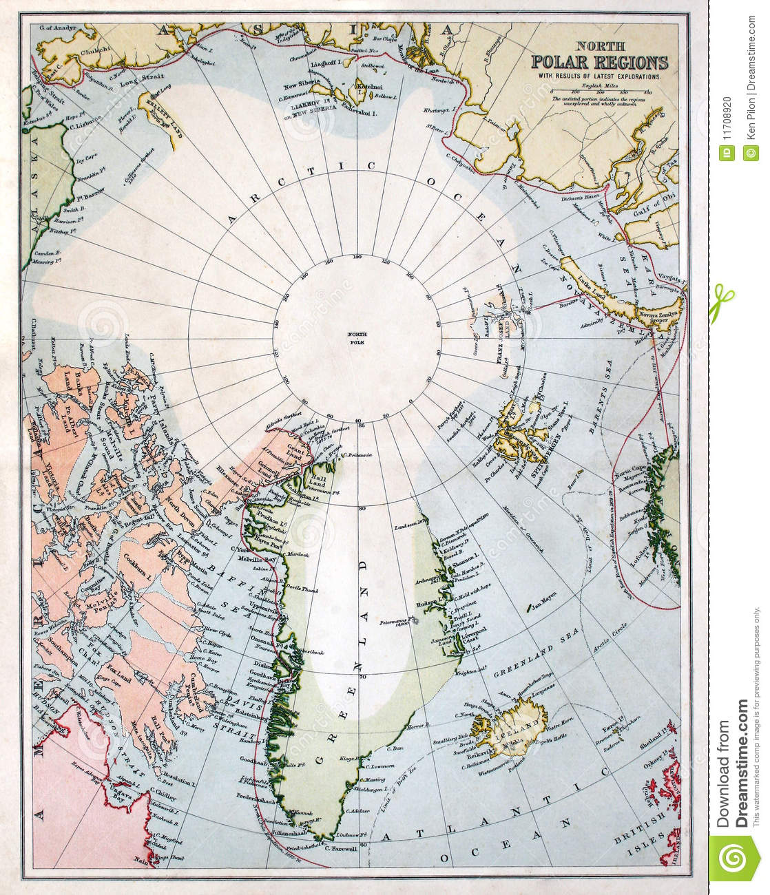 Early Map Of The North Pole Region Stock Photo Image Of North