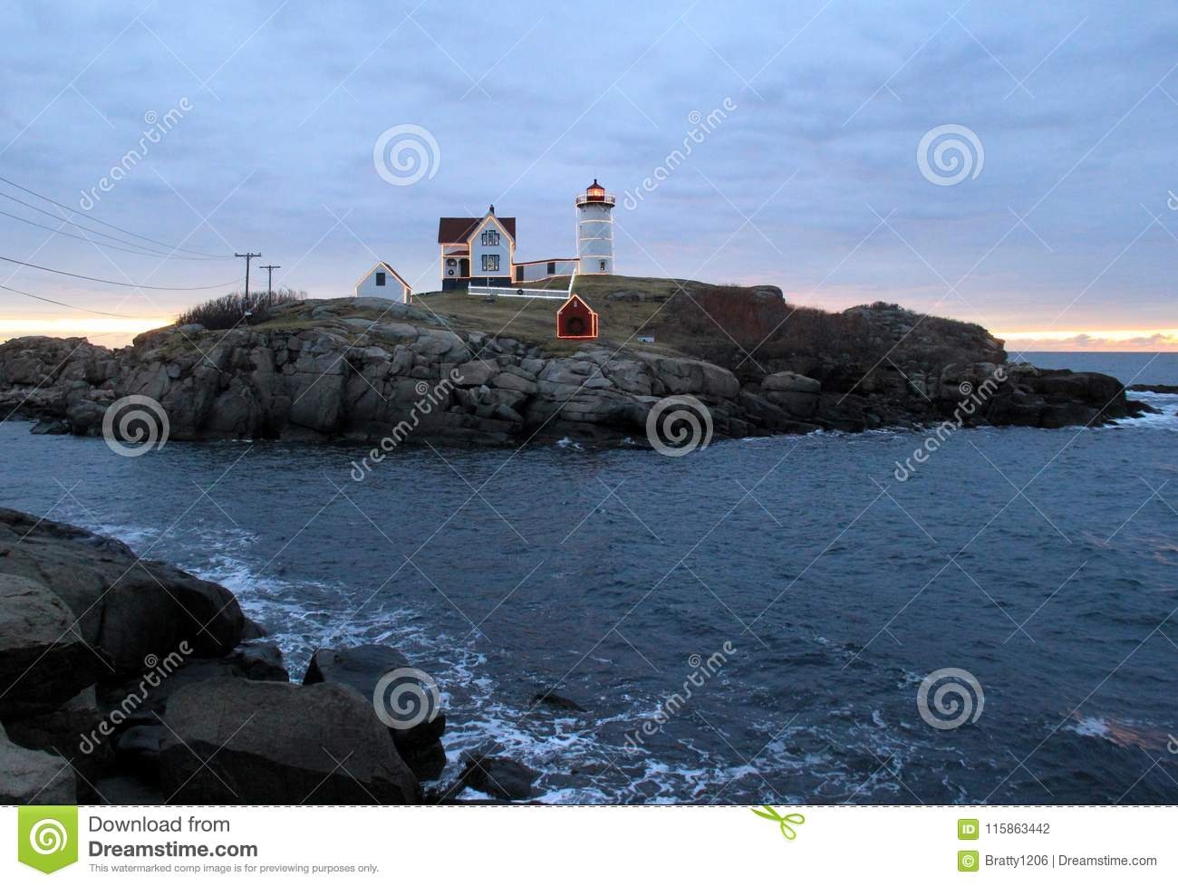 Early Morning At The Beach, Nubble Lighthouse, With Christmas Lights ...