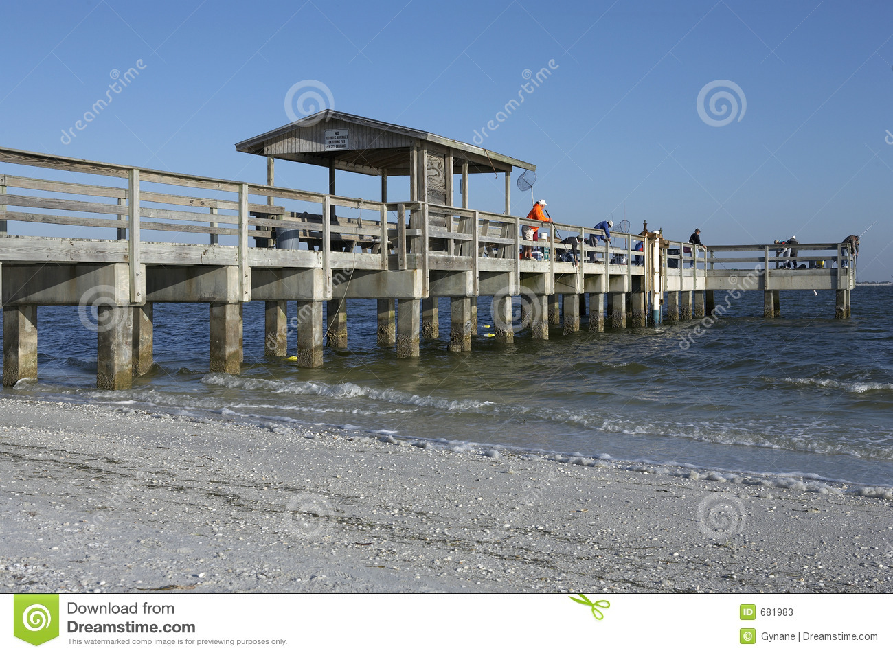 Early morning fishing from the pier stock photos image for Sanibel fishing pier