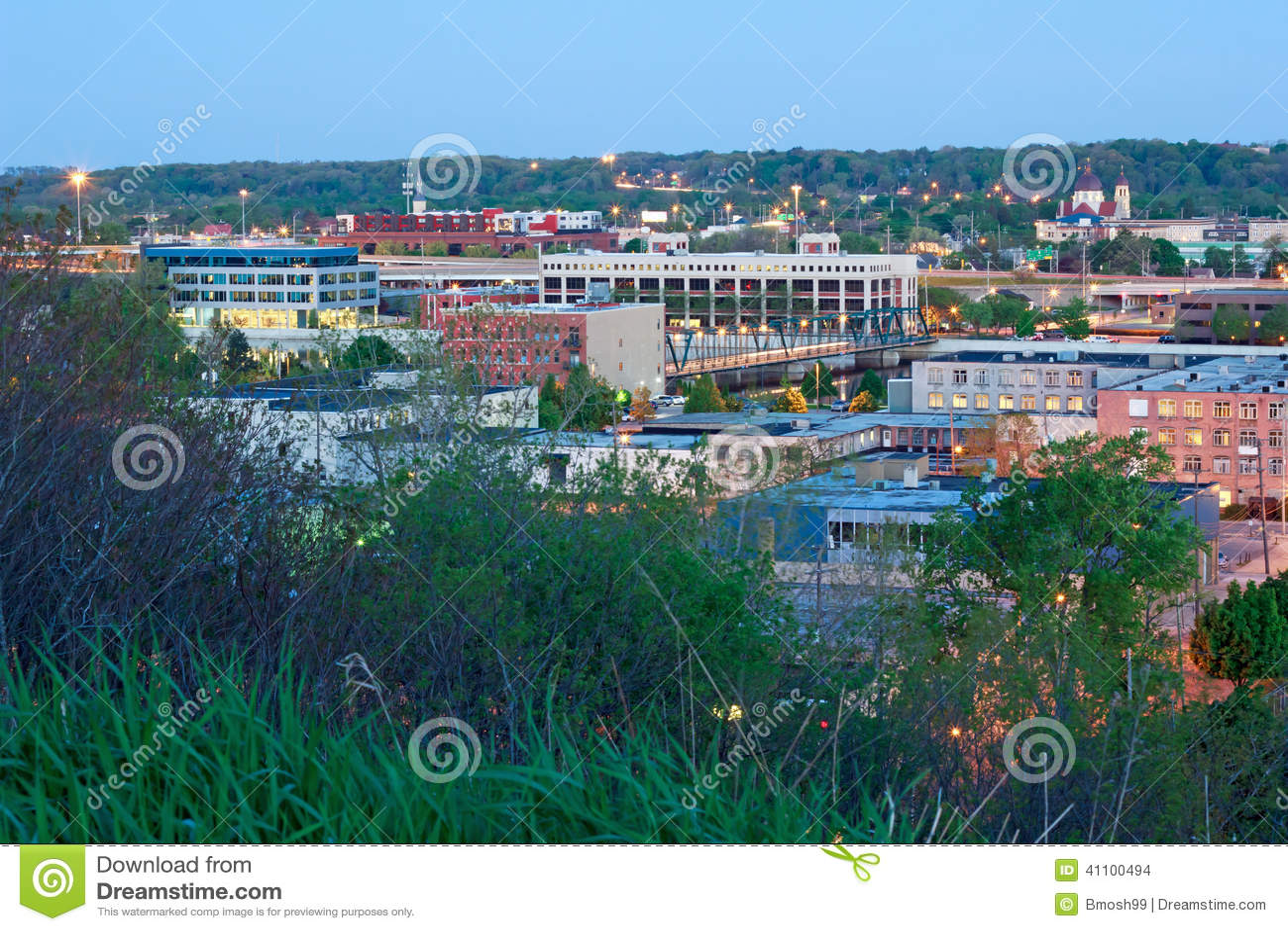 Early morning Grand Rapids Michigan. Royalty-Free Stock Photo