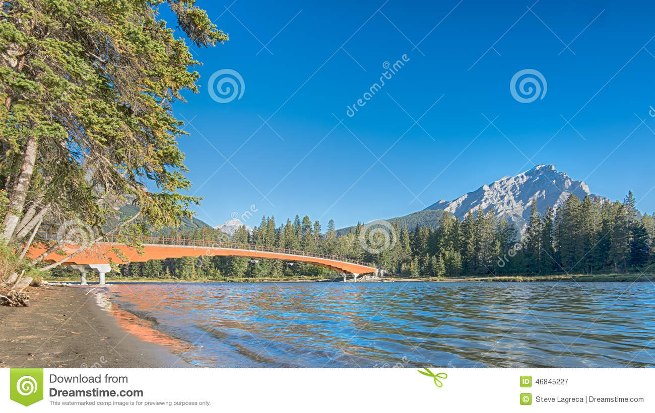 Early Morning Light on Mount Norquay, Bow River Bridge, Banff, A