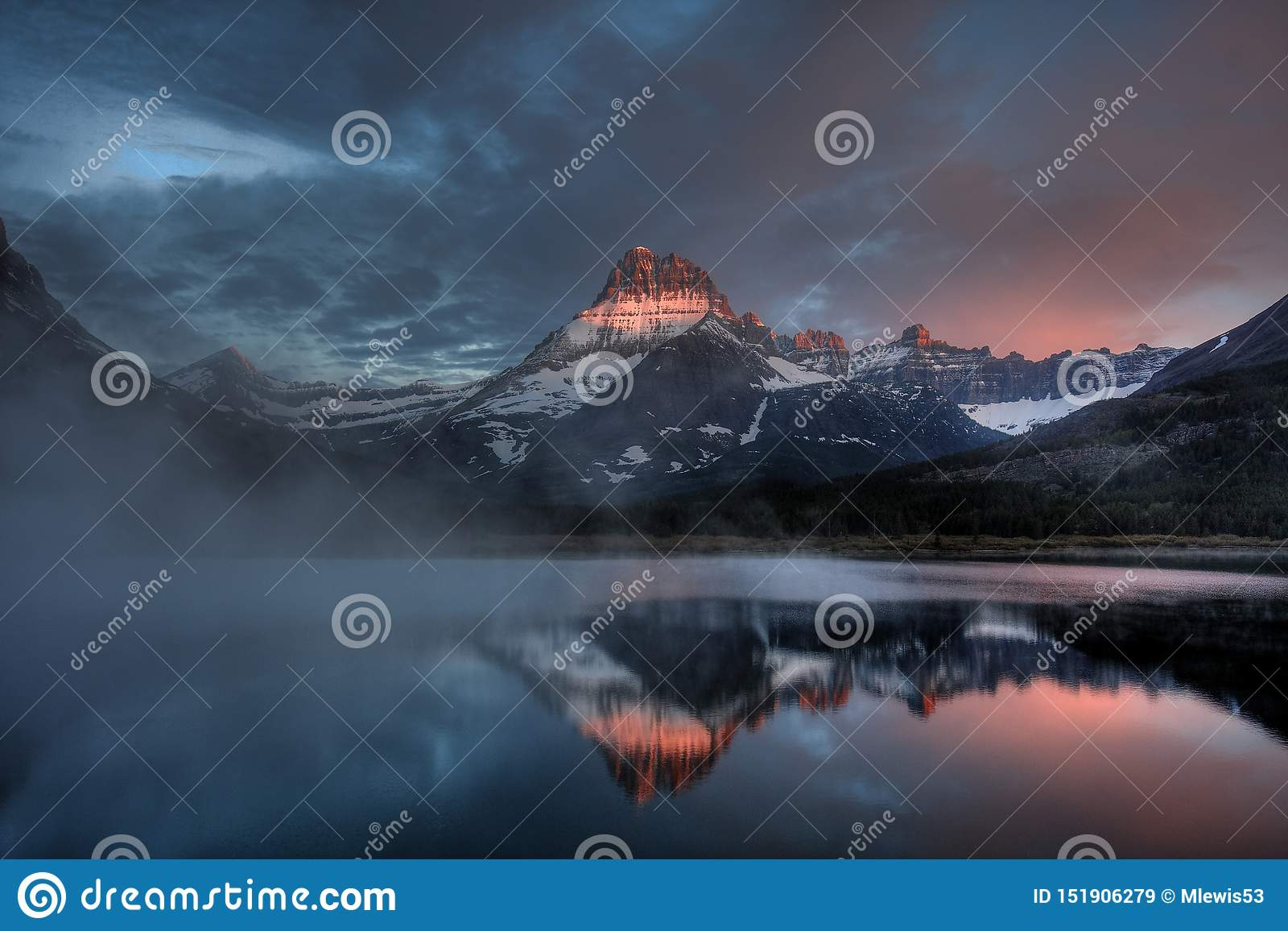 Swiftcurrent Lake Misty Dawn, Glacier National Park, Montana, USA